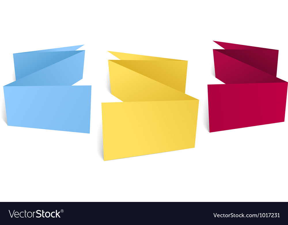 Color polygonal origami banners vector image