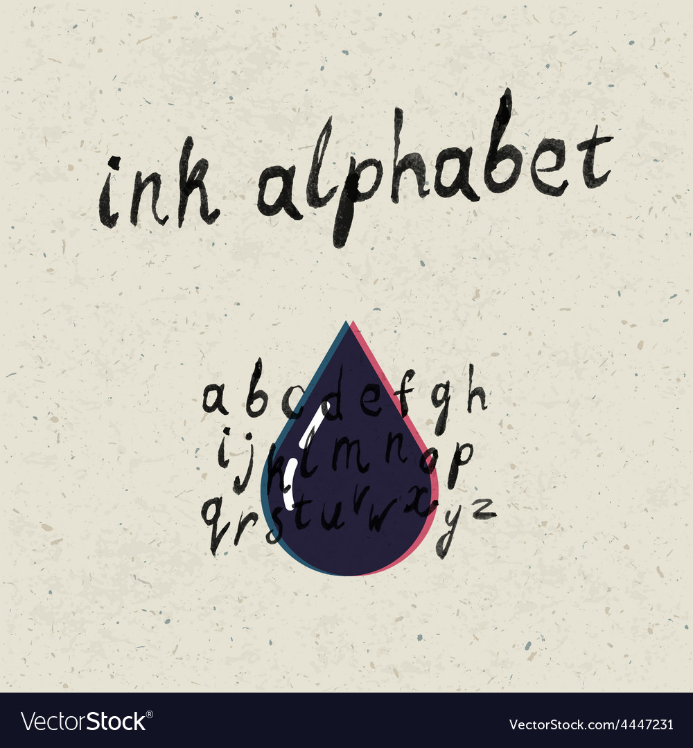 Ink hand drawn alphabet vector image