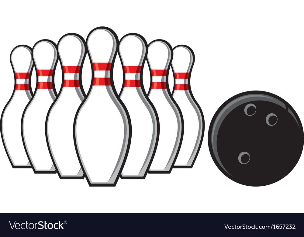 Bowling pins and bowling ball vector image