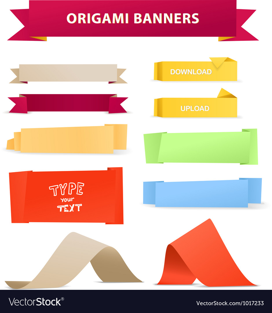Color polygonal origami ribbons vector image