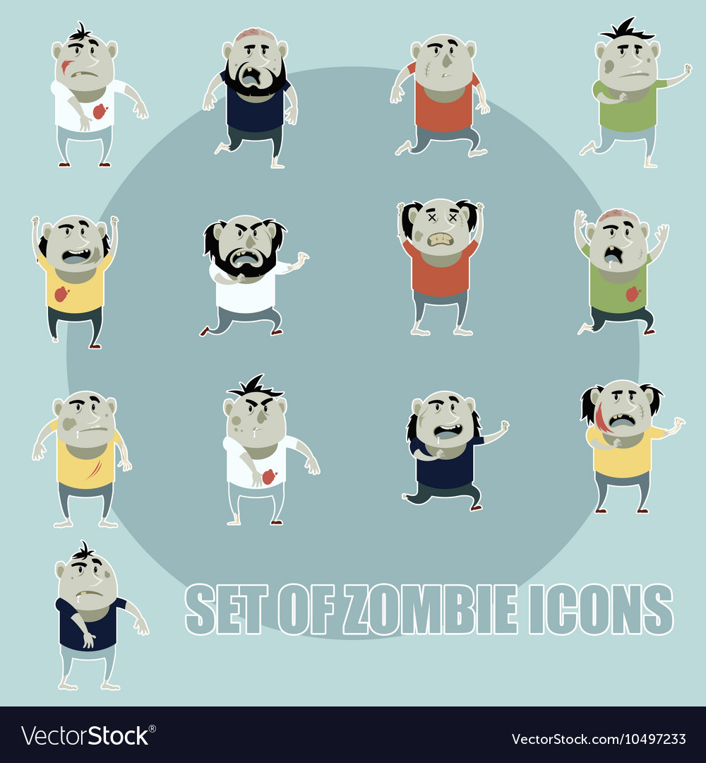 Set of zombie cartoon icons4 vector image
