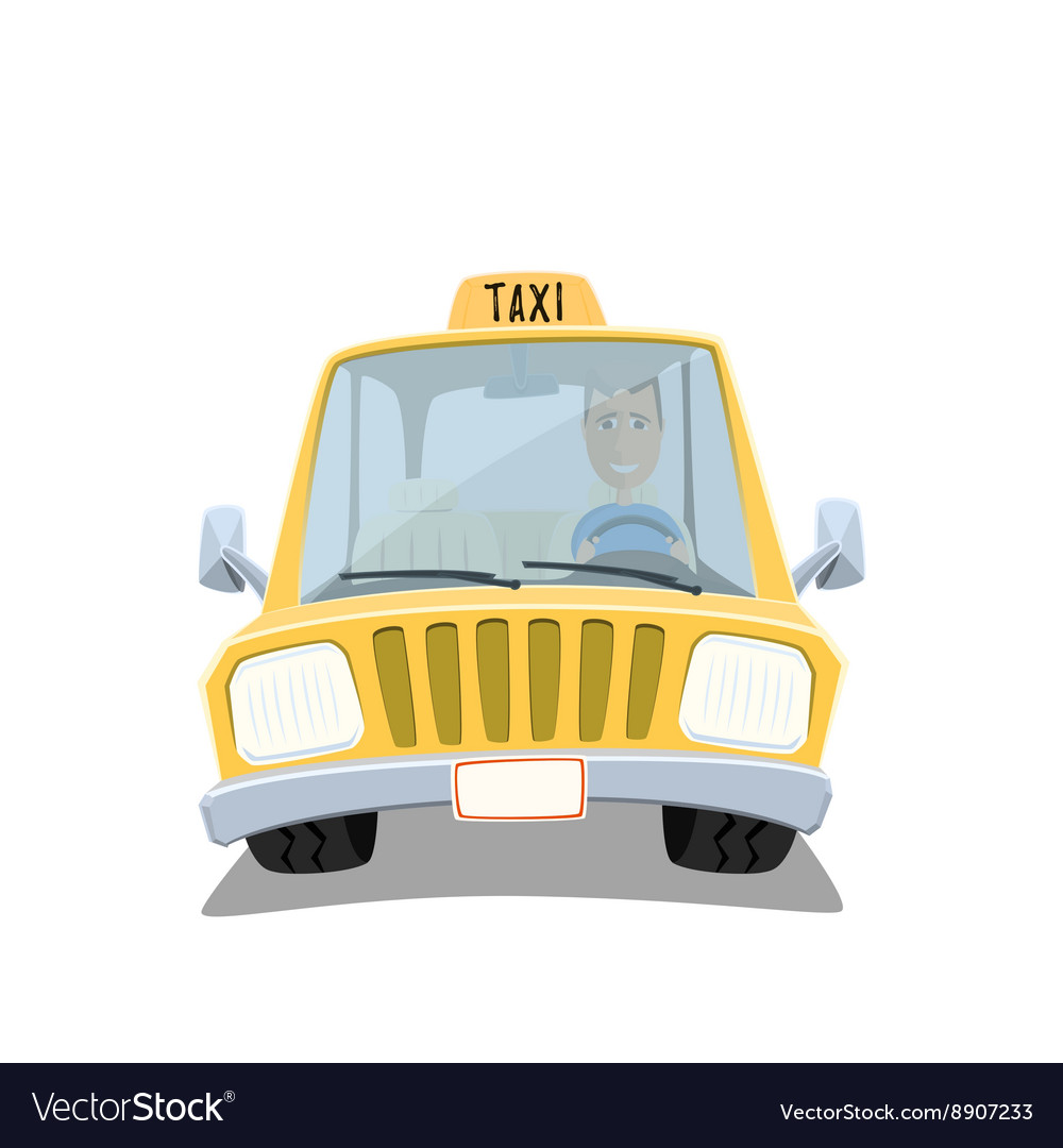 Yellow cartoon taxi car vector image