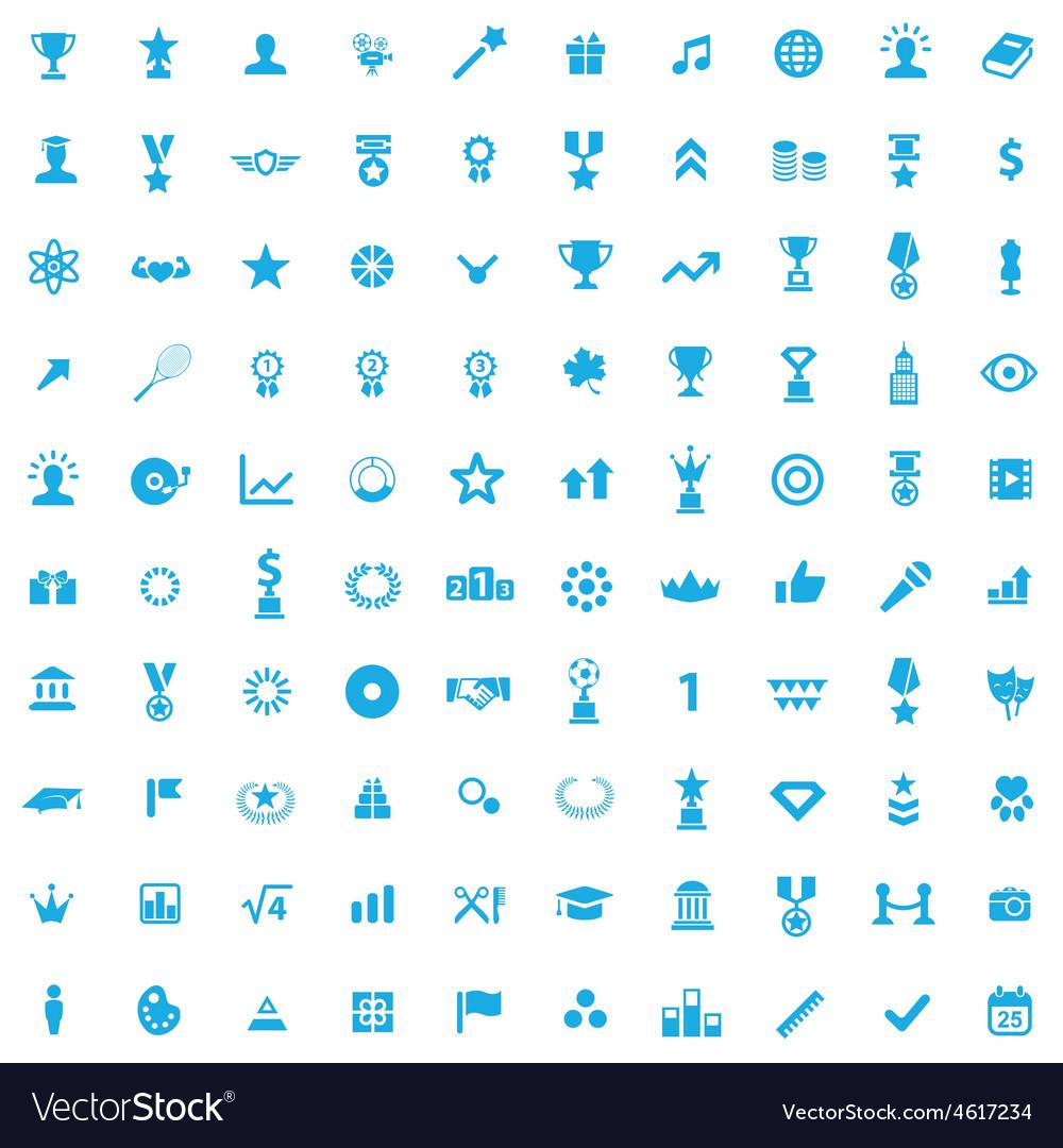 100 award icons vector image