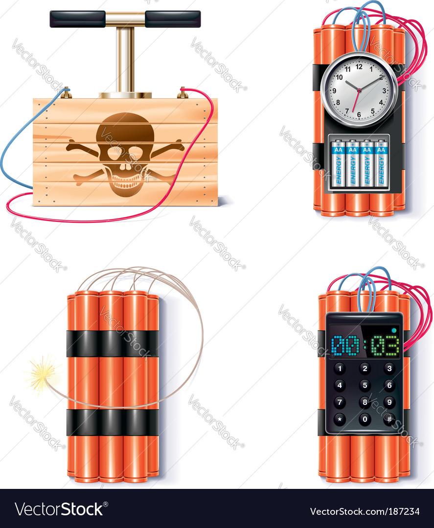 Explosive icon set vector image