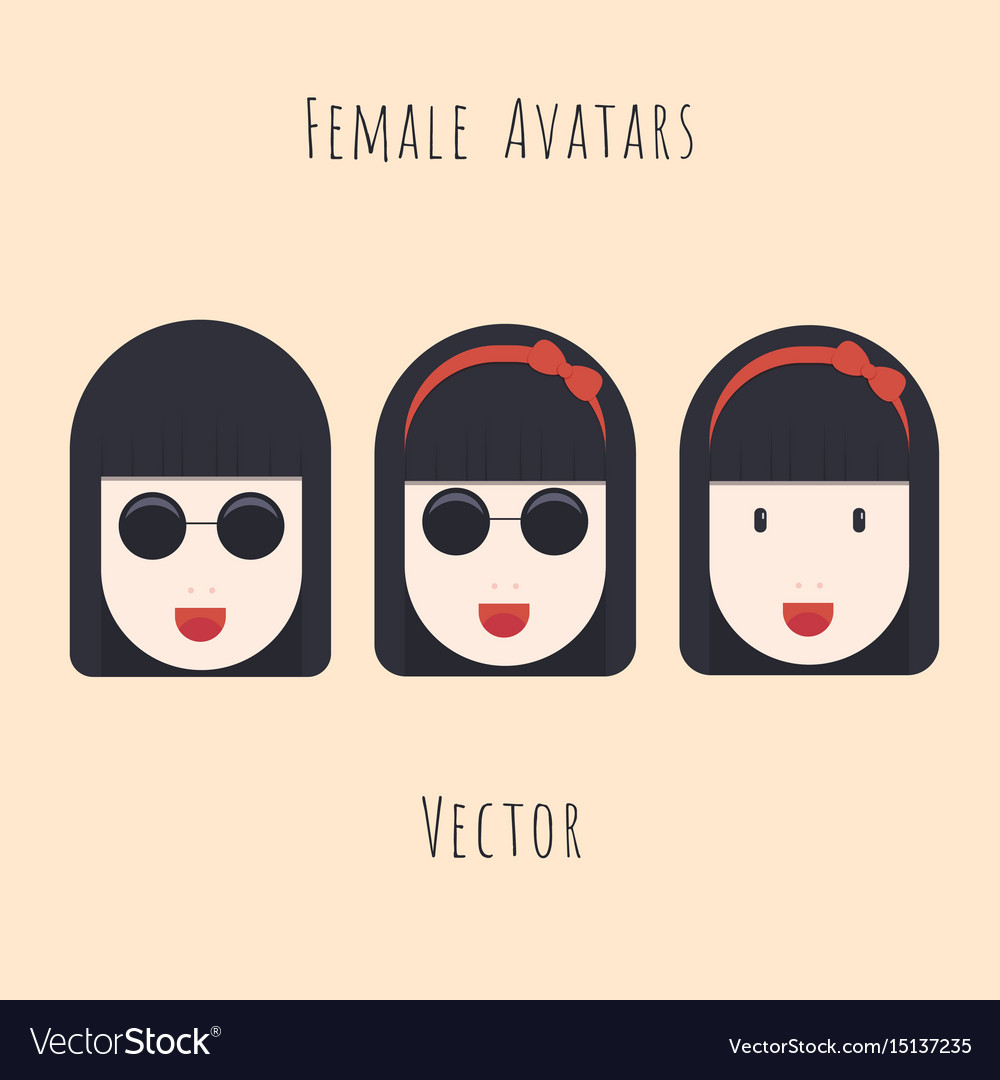 Set of girl with glasses character avatars vector image
