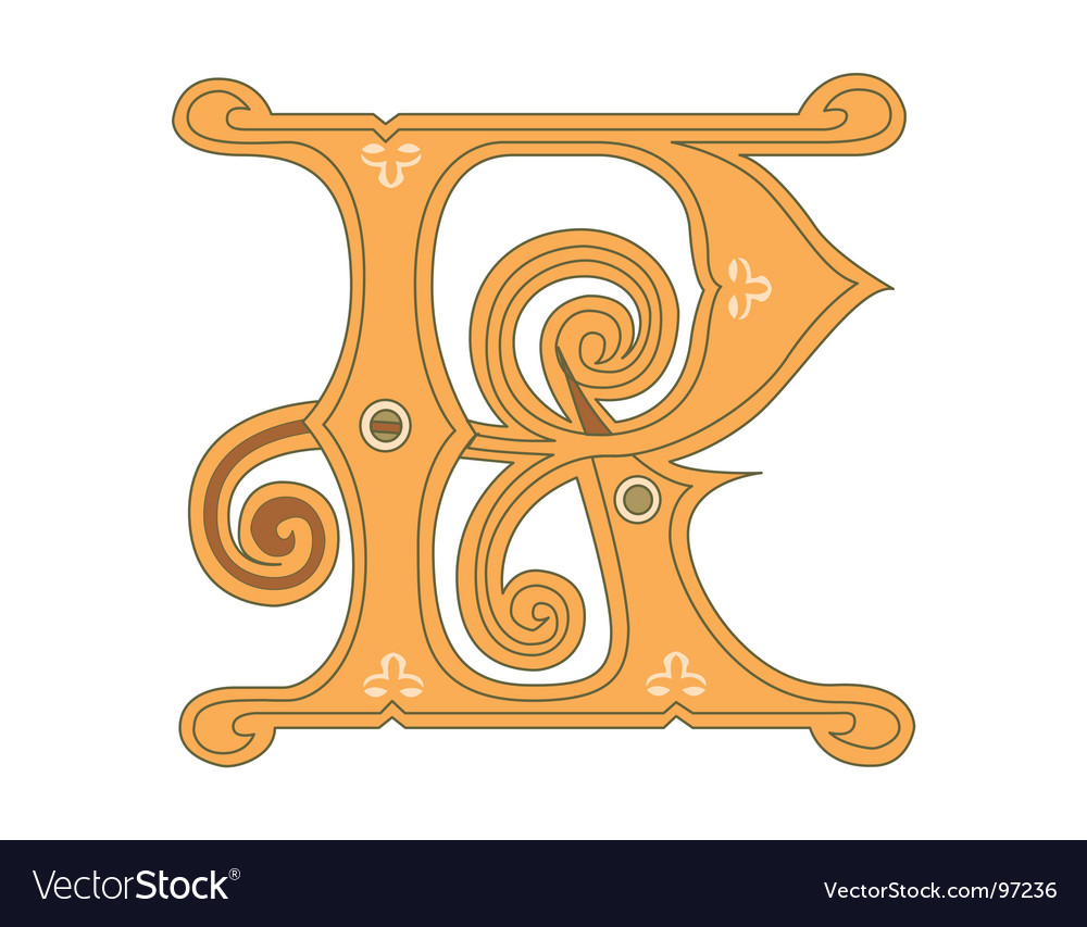 Golden letter r Vector Image