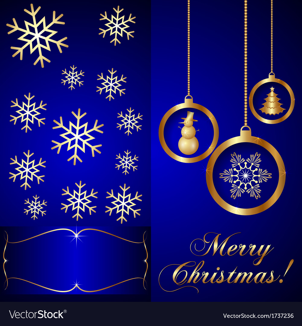 Blue Christmas Invitation Card vector image