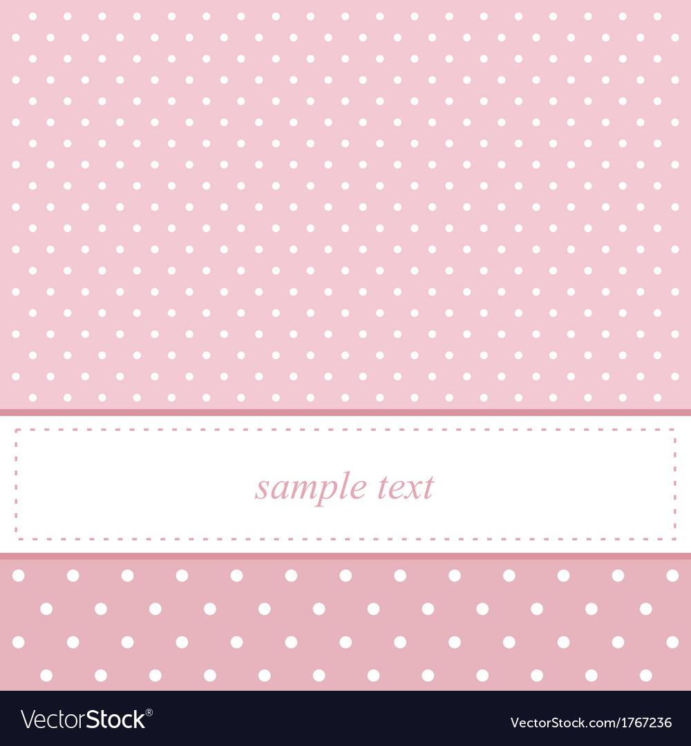 Pink and white polka dots card invitation vector image
