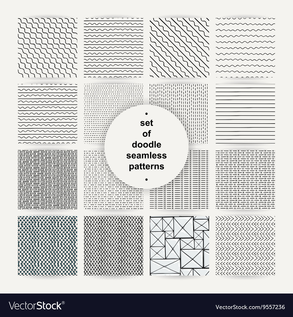 Set of simple doodle seamless patterns vector image