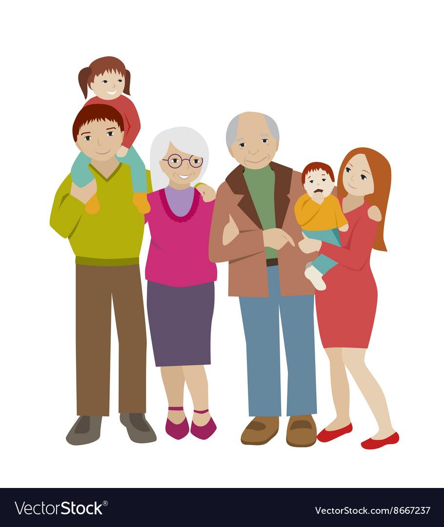 Large family portrait Flat cartoon vector image