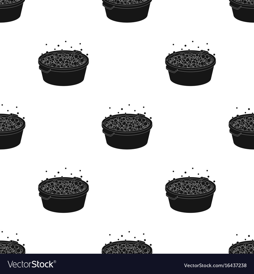 Basin with soap suds and water icon in black style vector image