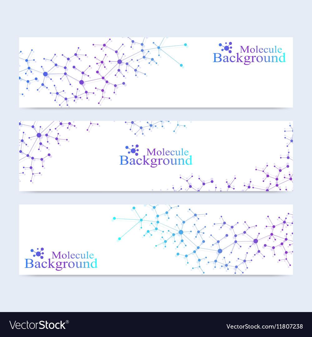 Modern set of banners Atom DNA Molecule vector image