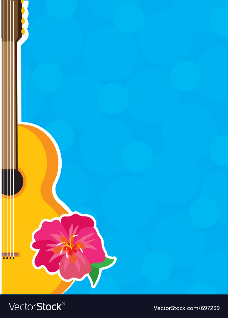 Guitar hibiscus Vector Image