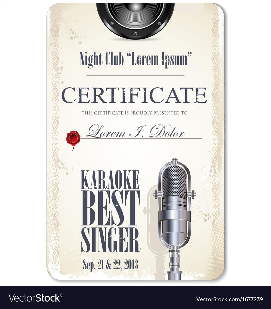 Karaoke certificate template best singer vector image yadclub Images