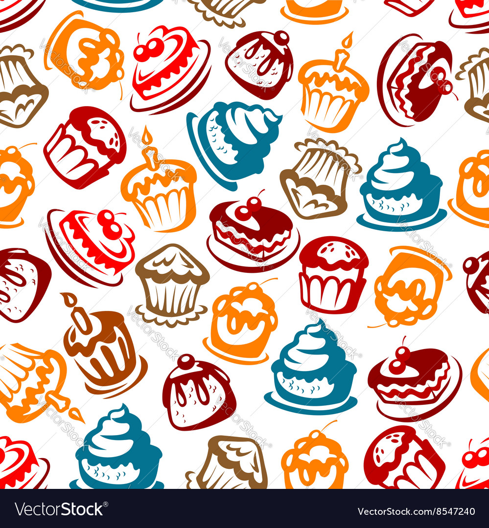 Birthday cakes with candles seamless pattern vector image