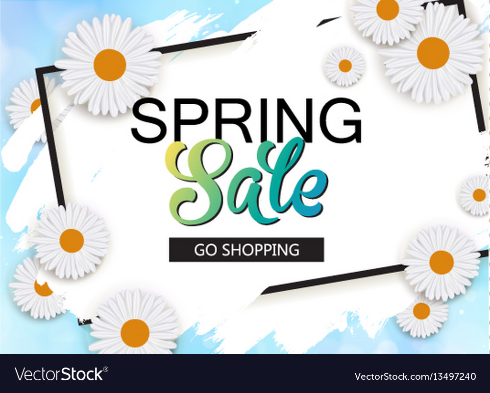 Spring sale banner with flowers and frame vector image izmirmasajfo Images
