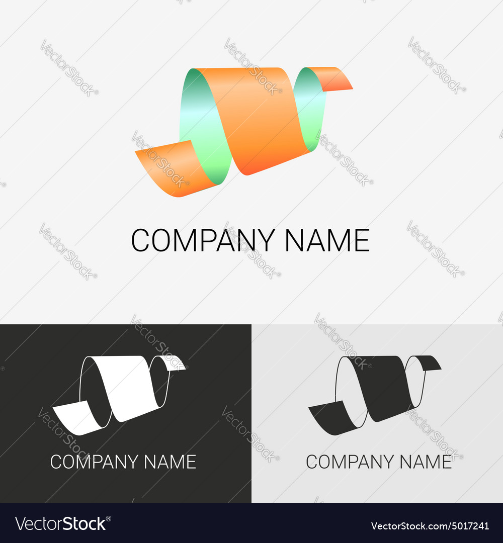 Abstract logo ribbon sign vector image