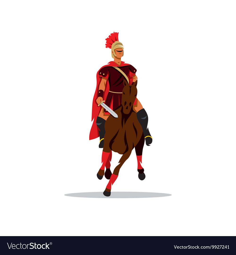 Spartan warrior on horseback holding sword vector image