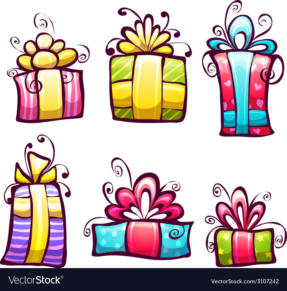 Set of brightly gift cartoon box vector image