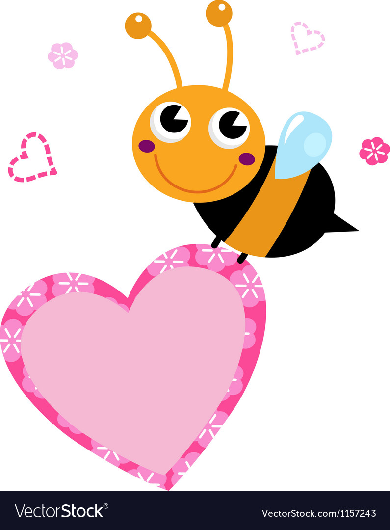 Cute flying Bee with pink heart isolated on white vector image