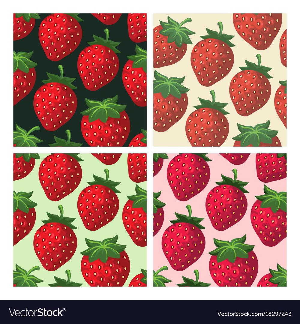 Strawberry seamless pattern set vector image