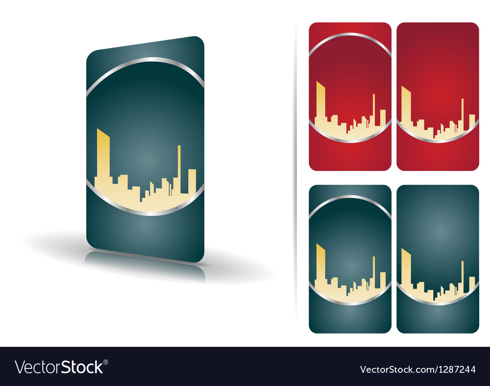 Red and green business cards vector image
