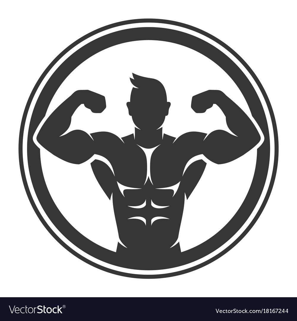 Bodybuilder logo icon on white background vector image