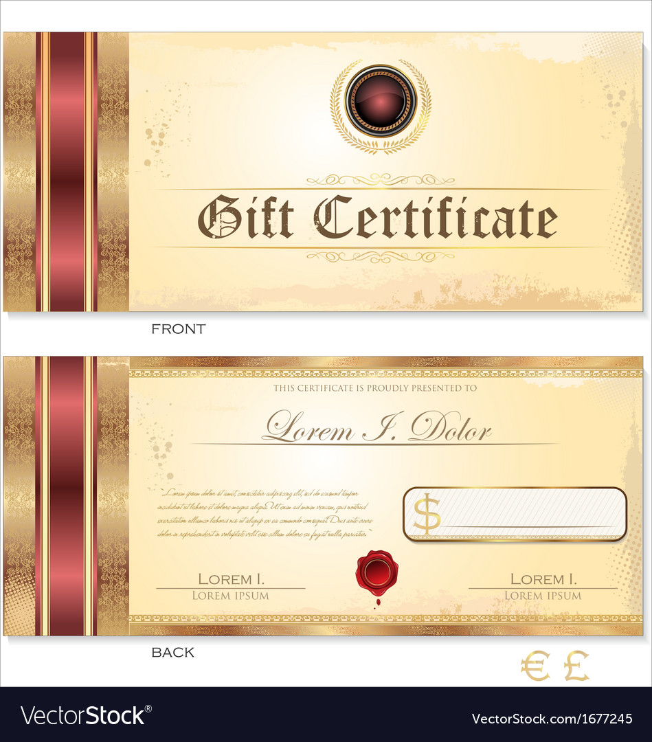 Gift certificate template royalty free vector image gift certificate template vector image xflitez Choice Image