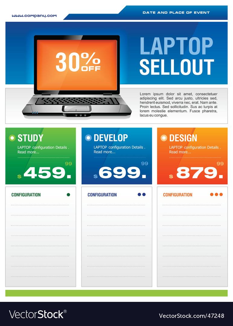 Laptop sale flyer vector image