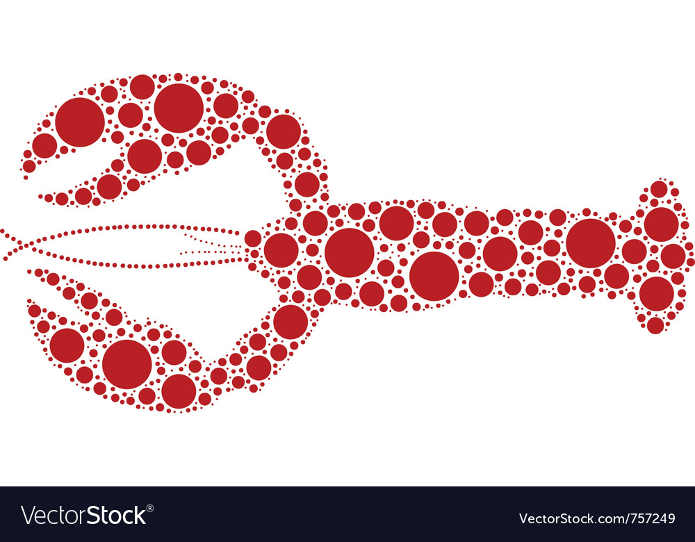 Red lobster made of circles vector image