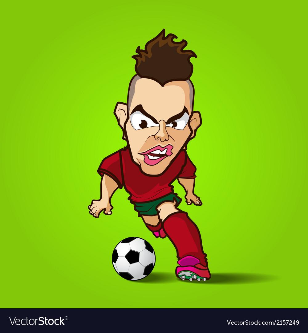The hardcore control football cartoon vector image