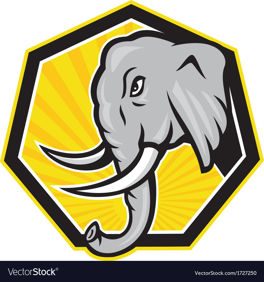Angry Elephant Head Side Cartoon vector image