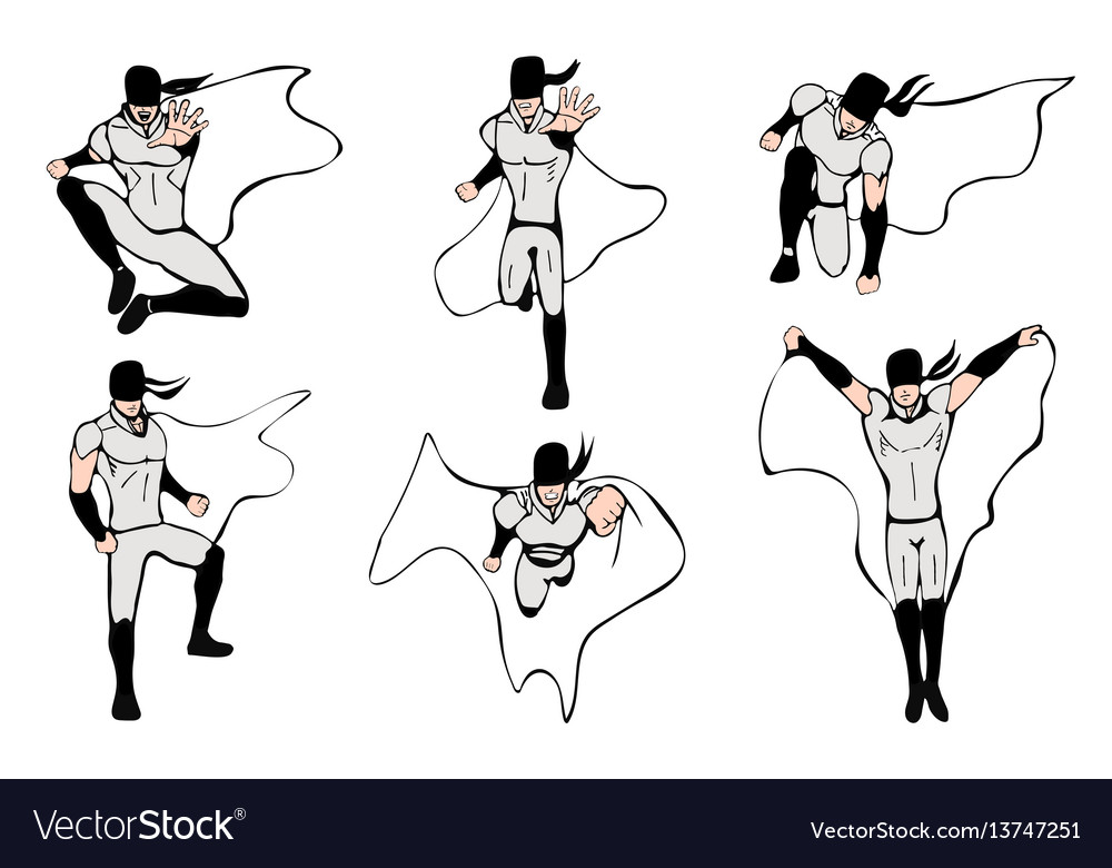 Hand drawn superhero models in various poses vector image