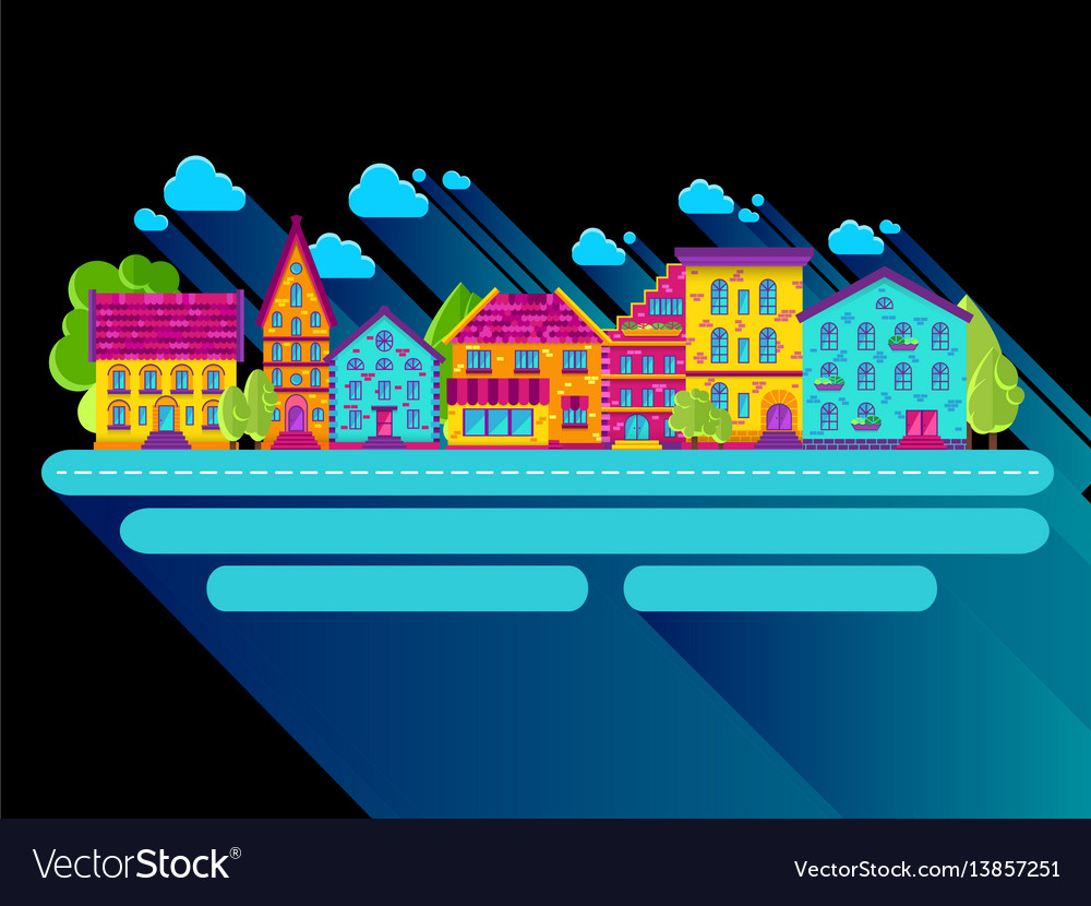 Houses clouds flat dark vector image