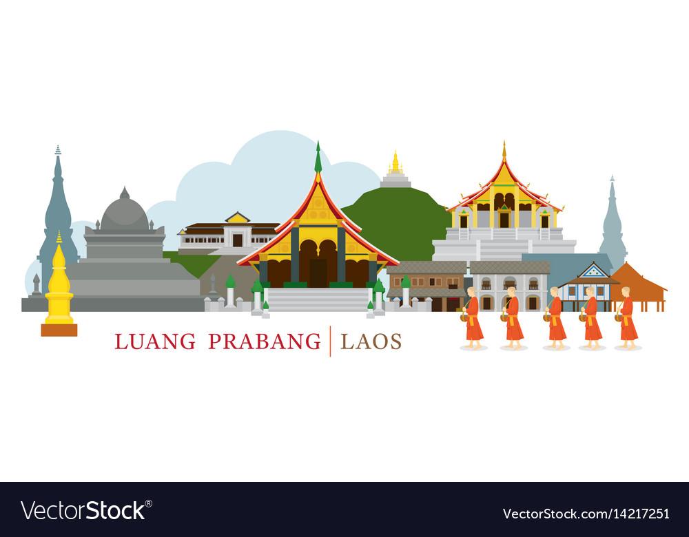 Luang prabang laos landmarks and monks on alms vector image