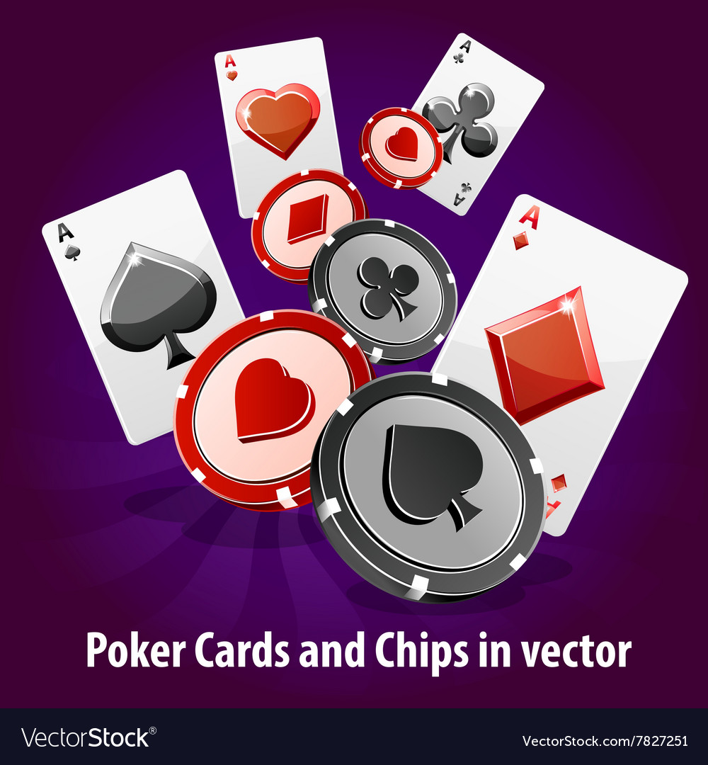 Poker Cards and Chips background vector image