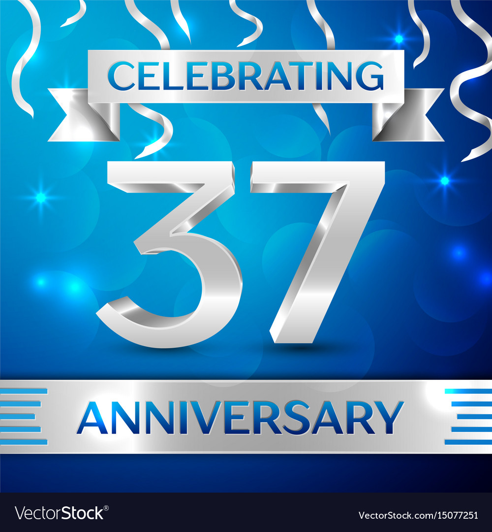 Thirty seven years anniversary celebration design vector image