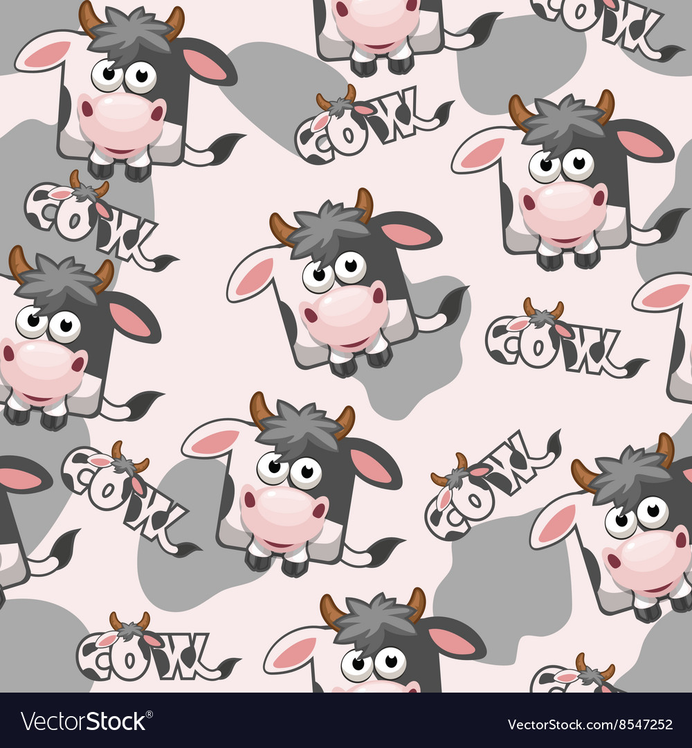 Seamless pattern square cartoon Cow vector image