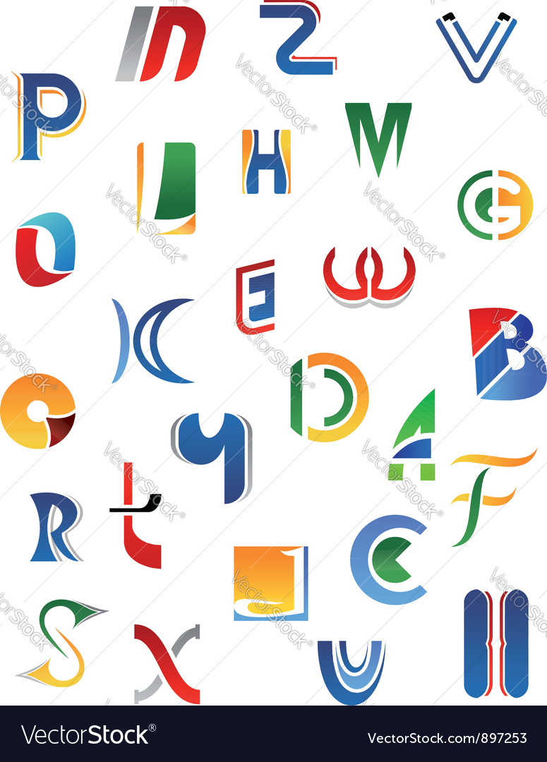 Alphabet letters and icons vector image