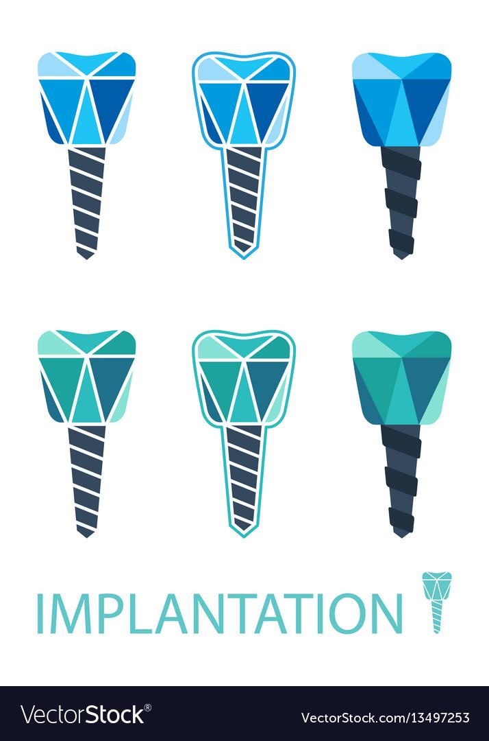 Dental implant symbol set vector image