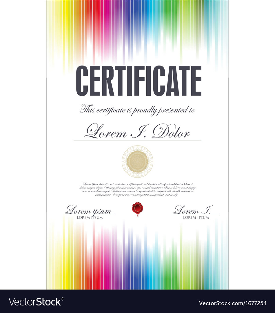 Colorful certificate template royalty free vector image colorful certificate template vector image yadclub Images