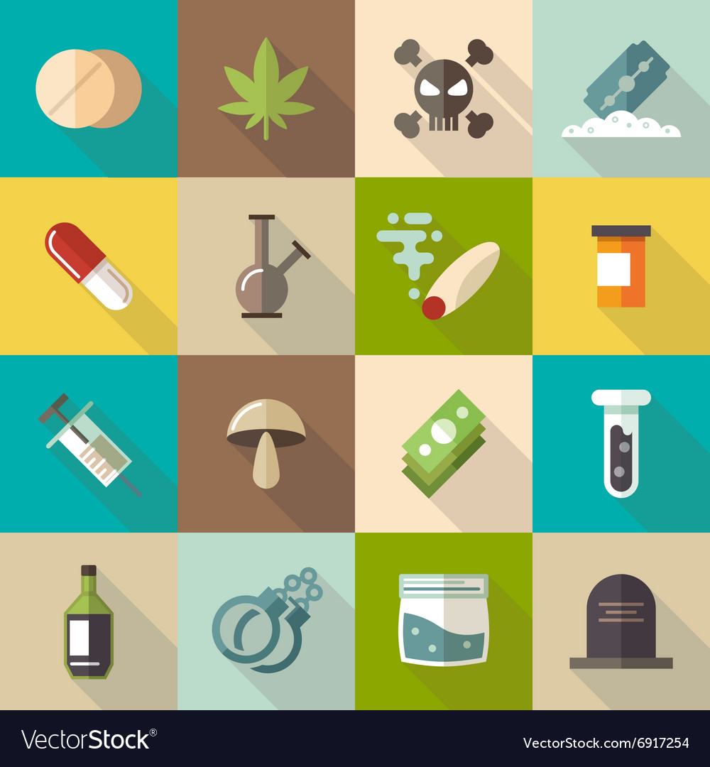 Drugs flat icons set vector image