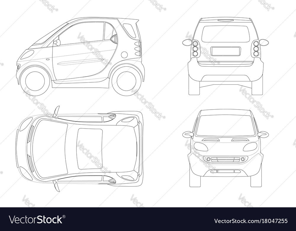 Compact smart car in outline small compact vector image malvernweather Image collections