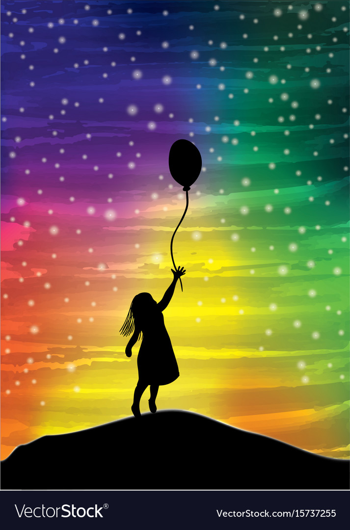 The girl with the balloon on the sky vector image