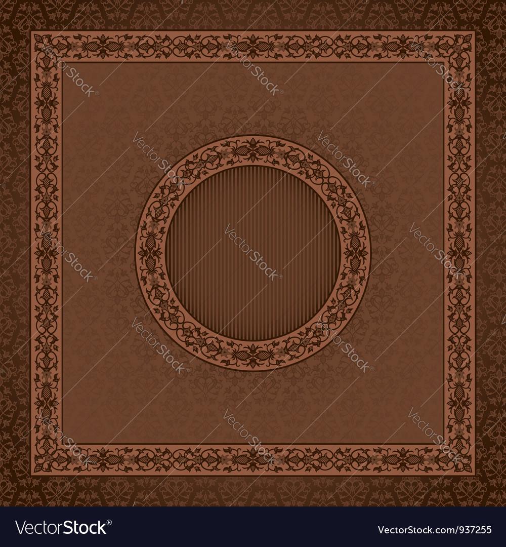 Vintage square card on damask seamless background vector image