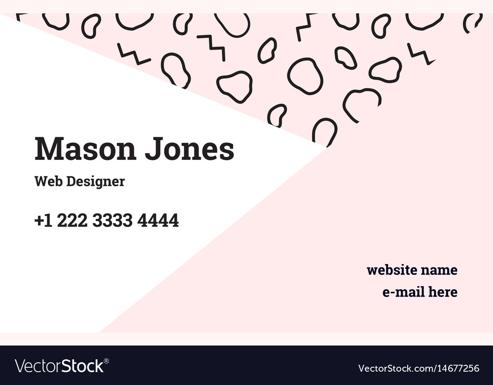 Business card template in the style of memphis Vector Image