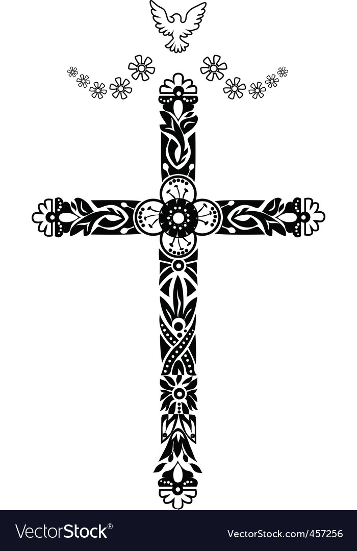 Cross with pigeon doodle graphic vector image