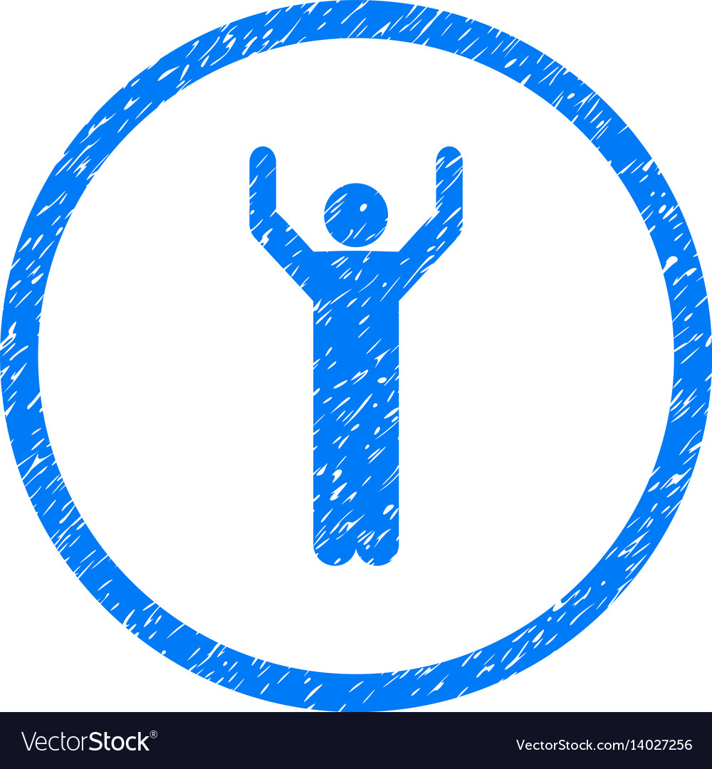 Hands up person pose rounded grainy icon vector image