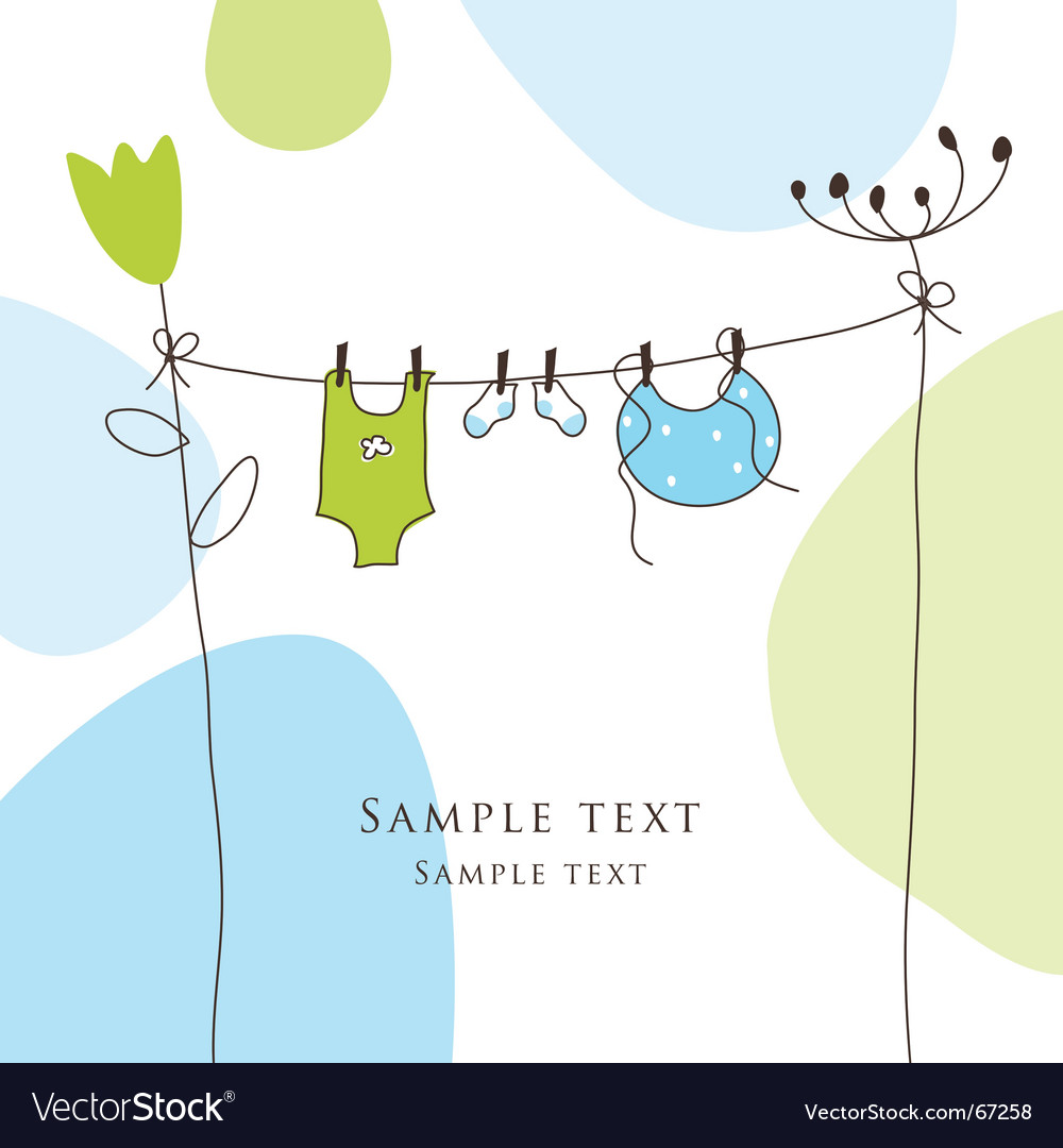 Baby arrival announcement card vector image