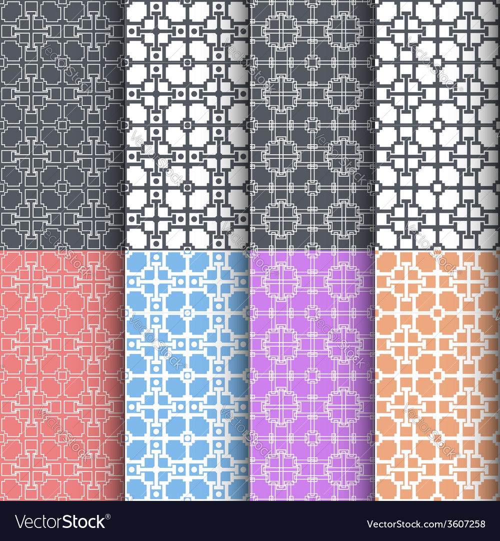 Geometric seamless patterns Abstract background vector image
